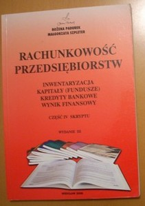 Rachunkowość przedsiębiorstw Inwentaryzacja Kapitały (fundusze) Kredyty bankowe Wynik finansowy cz.IV skryptu