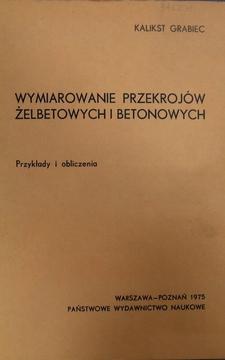 Wymiarowanie przekrojów żelbetonowych i betonowych /968/