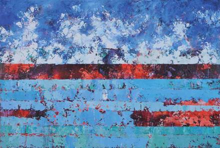 Chmury i woda II, 2015, akryl na płótnie, 135 x 200 cm / Clouds and water II, 2015, acrylic on canvas, 135 x 200 cm