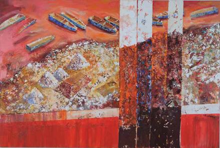 Łodzie do przyszłości, 2015, akryl na płótnie, 135 x 200 cm / Boats to the future, 2015, acrylic on canvas, 135 x 200 cm