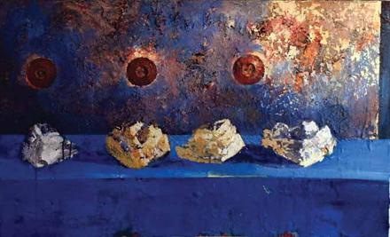 Taxi kosmosi, 2013, akryl na płótnie, 75 x 115 cm / Taxi kosmos, 2013, acrylic on canvas, 75 x 115 cm