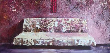 Różowa sofa, 2015, akryl na płótnie, 50 x 100 cm / Pink sofa, 2015, acrylic on canvas, 50 x 100 cm