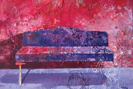 Kanapa z młotkiem, 2015, akryl na płótnie, 97 x 130 cm / Sofa with a hammer, 2015, acrylic on canvas, 97 x 130 cm