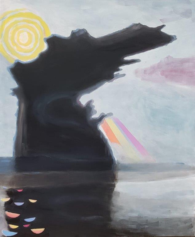 czarna chmura nadchodzi, 2019, 180x150 cm