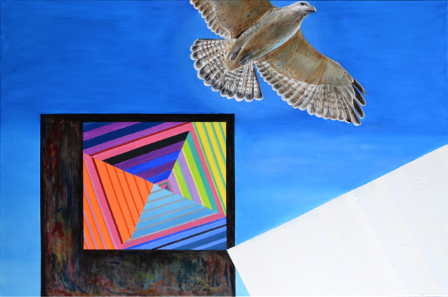 Learning to Fly, 2015, oil on canvas, 80 x 120 cm