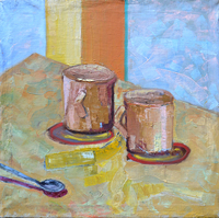 Two cups, 1997, oil, 50 x50 cm