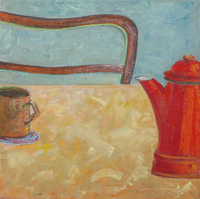 Mug and kettle, 1997, oil, 50 x50 cm