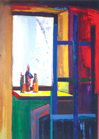 Window and bottles, 1986, oil, 150 x 100 cm