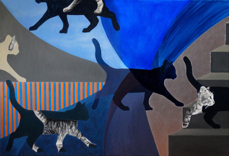 Kwantowy kot / The Quantum Cat, 2017, olej plótno, 80x120cm