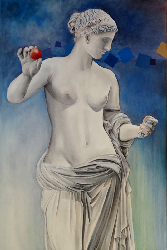 Ćwiczenia grecko-rzymskie - Wenus z Arles, 2019, olej płótno, 120 x80 cm / Greco Roman exercises - Aphrodite from Arles, 2019, oil on canvas, 120 x80 cm