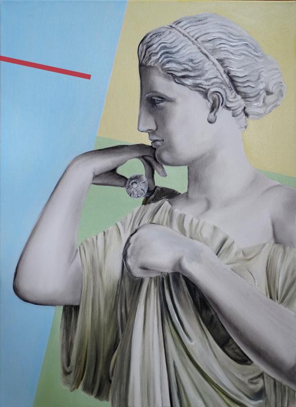 Ćwiczenia grecko-rzymskie - Diana z Gabii, 2020, olej płótno, 70x50 cm / Greco Roman exercises - Diana of Gabii, 2020, oil on canvas, 70x50 cm