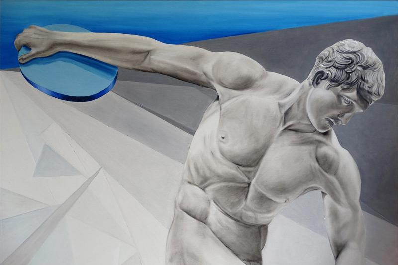 Greco Roman exercises - Dyskobol z Willi Hadriana, 2020, olej płótno, 80x120 cm / Greco Roman exercises - Discobolus from Hadrian's Villa, 2020, oil on canvas, 80x120 cm
