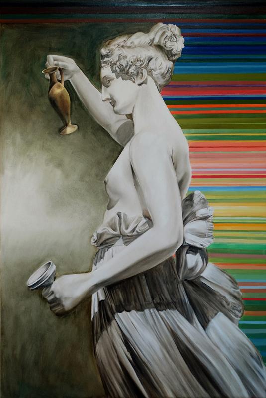 Ćwiczenia grecko-rzymskie - Hebe Antonio Canovy, 2019, olej płótno, 120 x80 cm / Greco Roman exercises - Antonio Canova's Hebe, 2019, oil on canvas, 120 x80 cm