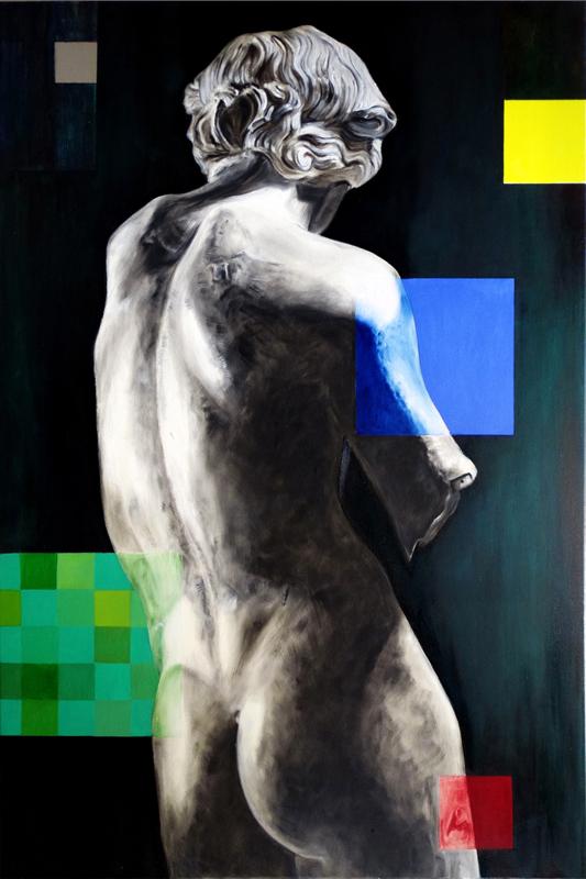 Ćwiczenia grecko-rzymskie - Apollo z Cleveland, 2020, olej plotno, 120x80 cm / Greco Roman exercises - Apollo from Clevlend, 2020, oil on canvas, 120x80 cm