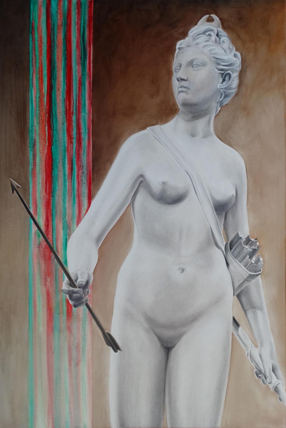 Ćwiczenia grecko-rzymskie - Diana Jean-Antoine Houdona, 2020, olej płótno, 80x120 cm / Greco Roman exercises - Jean-Antoine Houdon's Diana, 2020, oil on canvas, 80x120 cm
