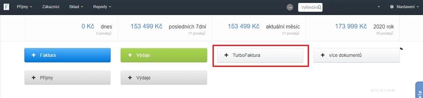 Položka TurboFaktura mezi povolenými funkcionalitami