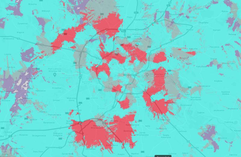 Zasięg 5G Plusa w 7 miastach - mapki