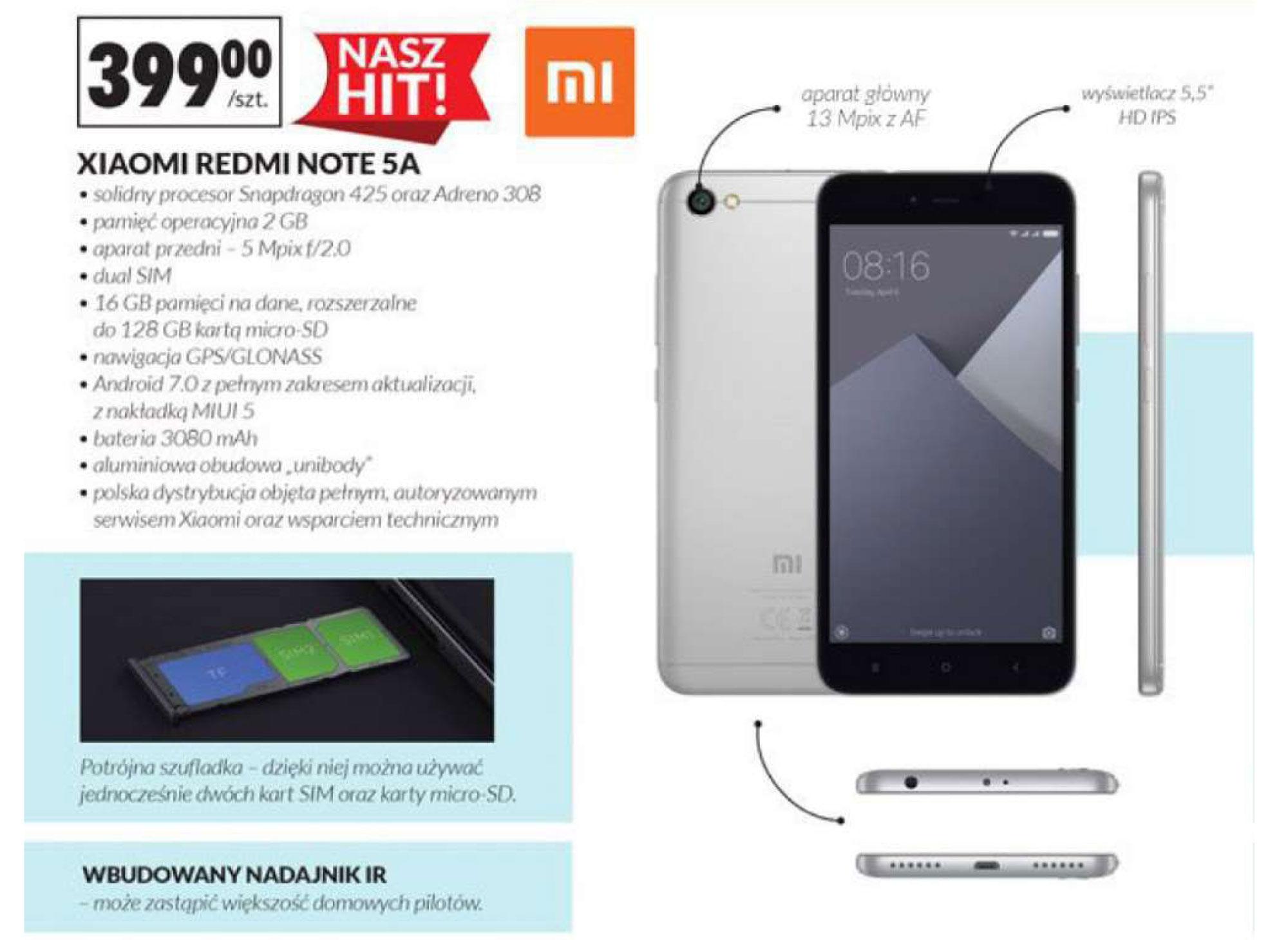 Inne informacje na temat smartfonu Xiaomi Redmi Note 5A