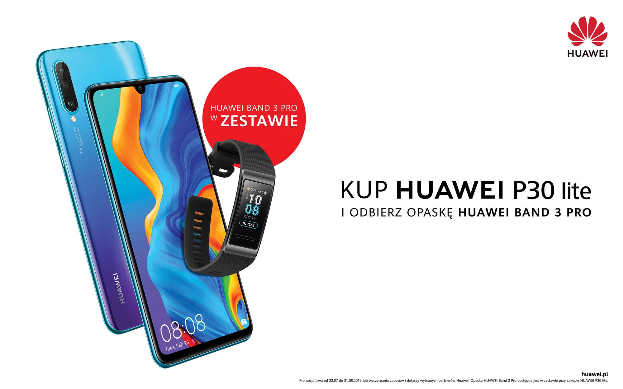 Huawei P30 lite z opaską Huawei Band 3 Pro gratis
