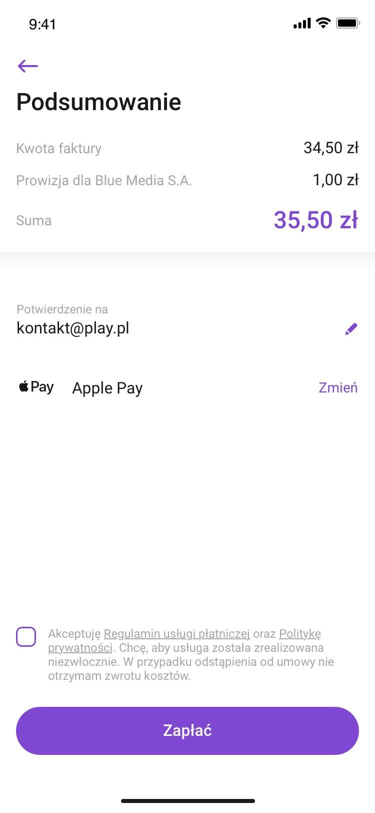 Płatności za faktury w aplikacji Play24