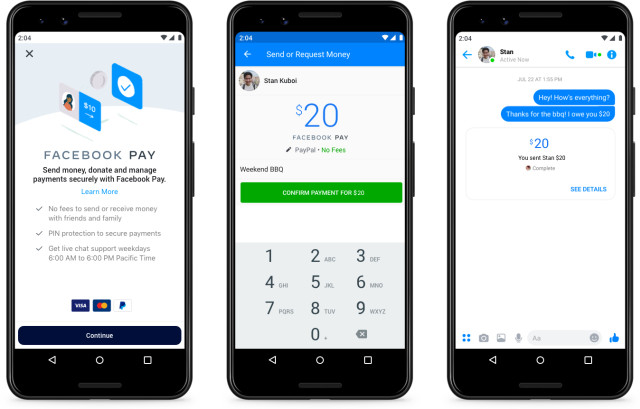 Facebook Pay experience in Messenger