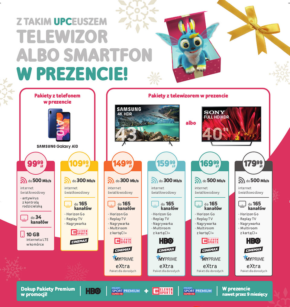 UPC na święta - pakiety z telewizorami i smartfonem w prezencie
