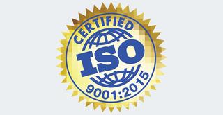 Logo certyfikatu ISO 9001:2015, otrzymanego przez Vavatech.
