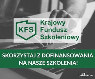 logo Krajowego Funduszu Szkoleniowego i  napis Skorzystaj z dofinansowania na nasze szkolenia