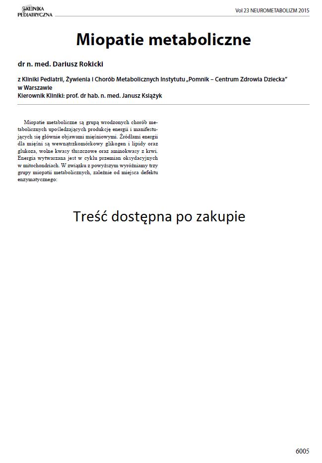 KP 2015-Neurometabolizm: Miopatie metaboliczne (Dostęp Online)