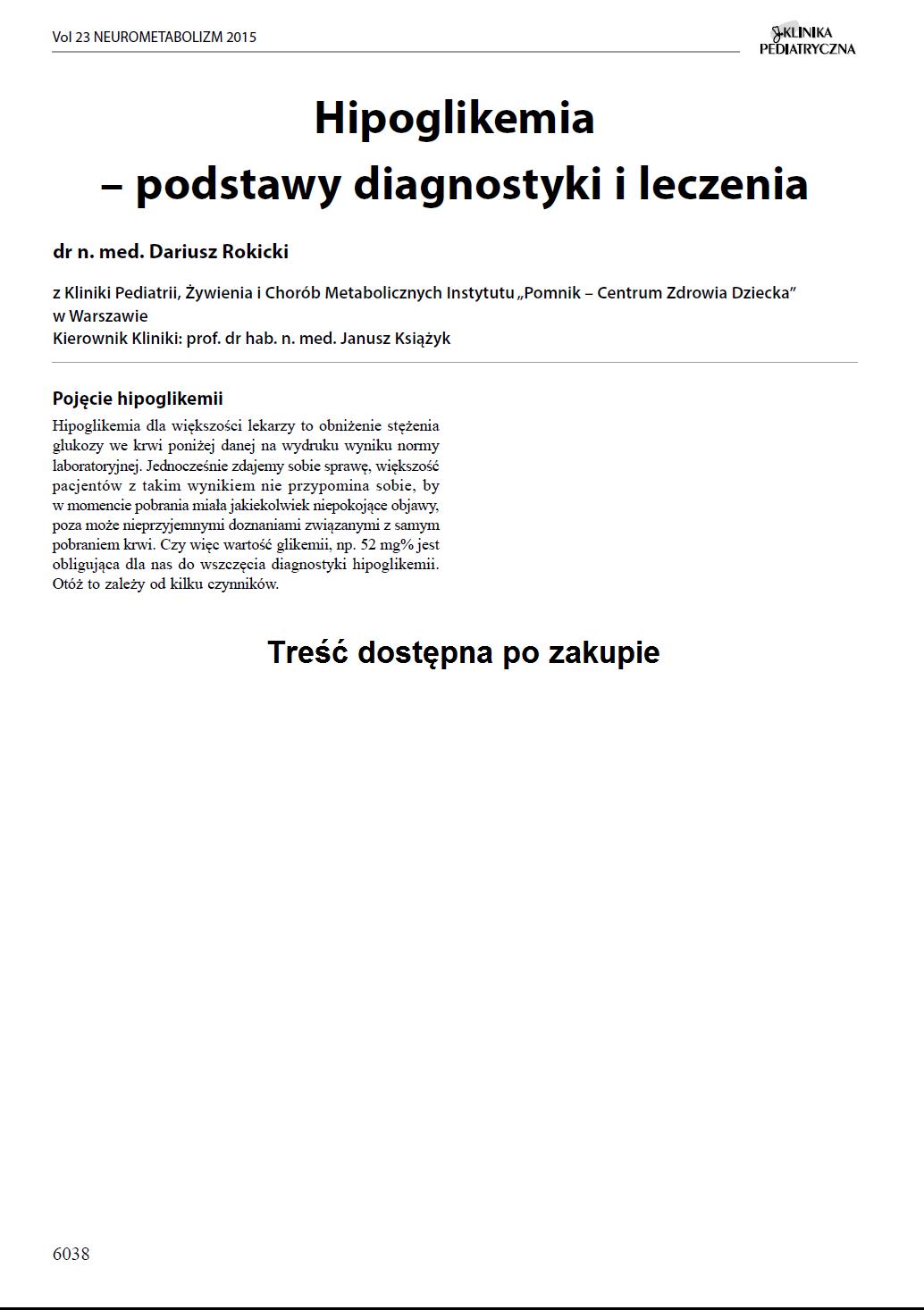 KP 2015-Neurometabolizm: Hipoglikemia – podstawy diagnostyki i leczenia