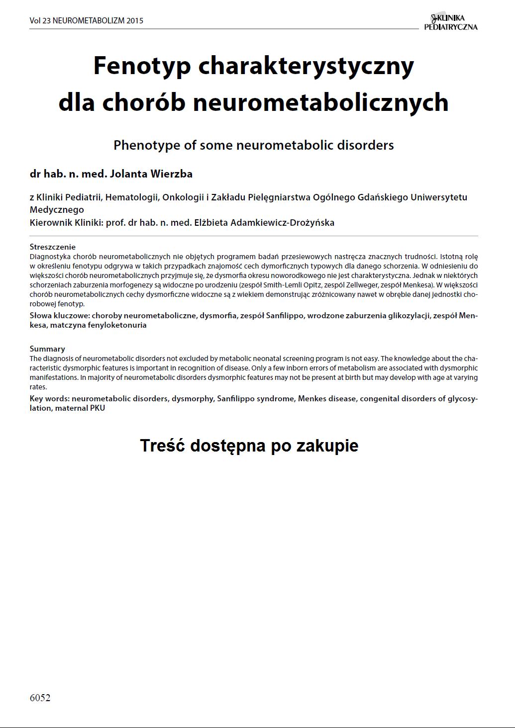 KP 2015-Neurometabolizm: Fenotyp charakterystyczny dla chorób neurometabolicznych