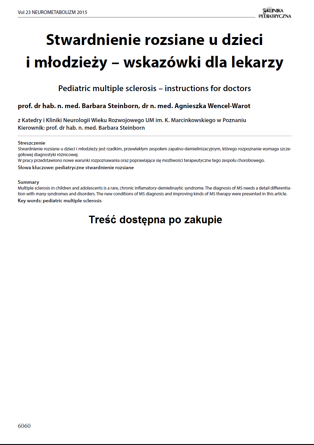 KP 2015-Neurometabolizm: Stwardnienie rozsiane u dzieci i młodzieży – wskazówki dla lekarzy