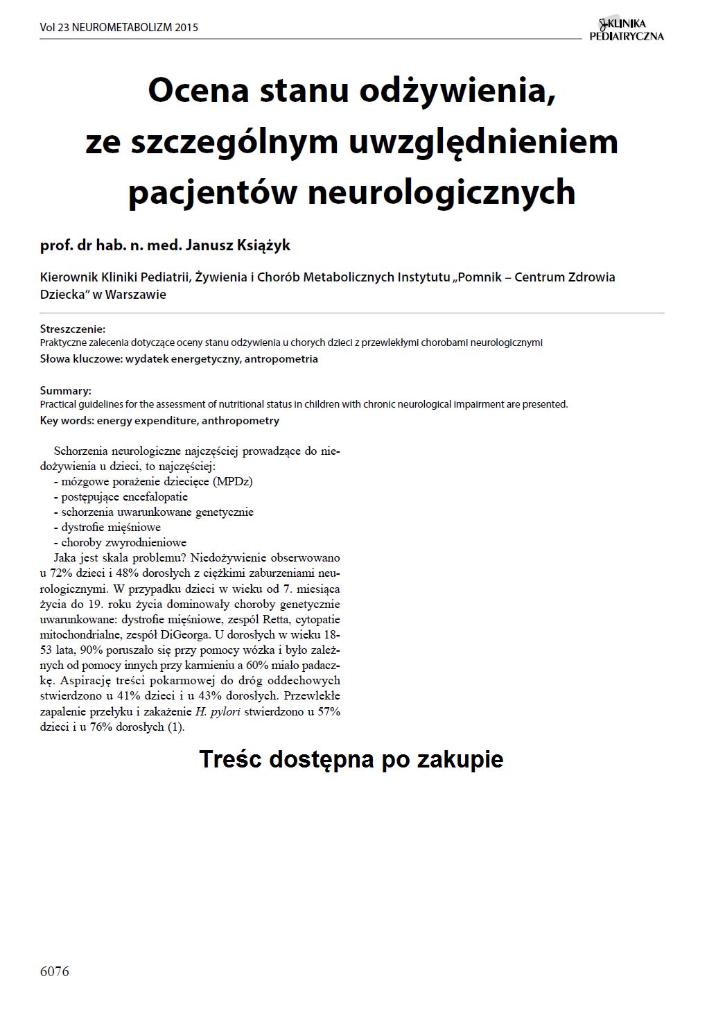 KP 2015-Neurometabolizm: Ocena stanu odżywienia, ze szczególnym uwzględnieniem pacjentów neurologicznych
