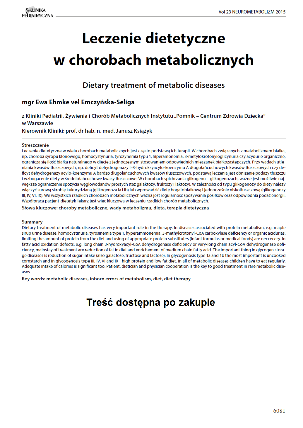 KP 2015-Neurometabolizm: Leczenie dietetyczne w chorobach metabolicznych