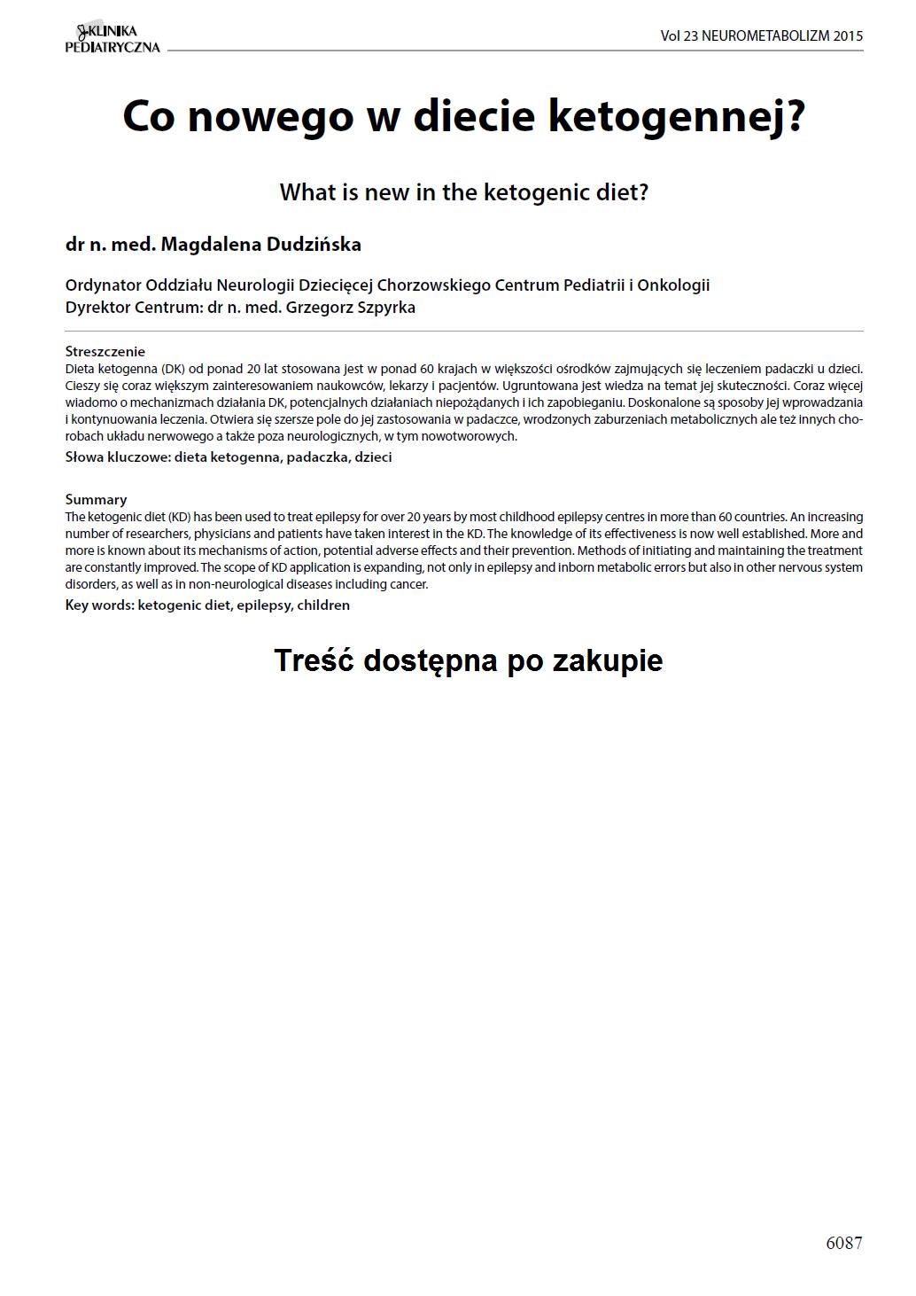 KP 2015-Neurometabolizm: Co nowego w diecie ketogennej?