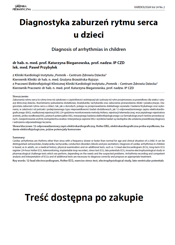 KP 2 -2016- Diagnostyka zaburzeń rytmu serca u dzieci