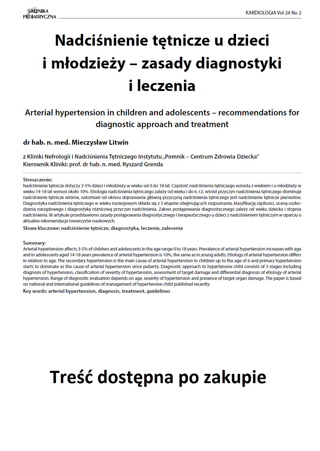 KP 2 -2016- Nadciśnienie tętnicze u dzieci i młodzieży – zasady diagnostyki i leczenia