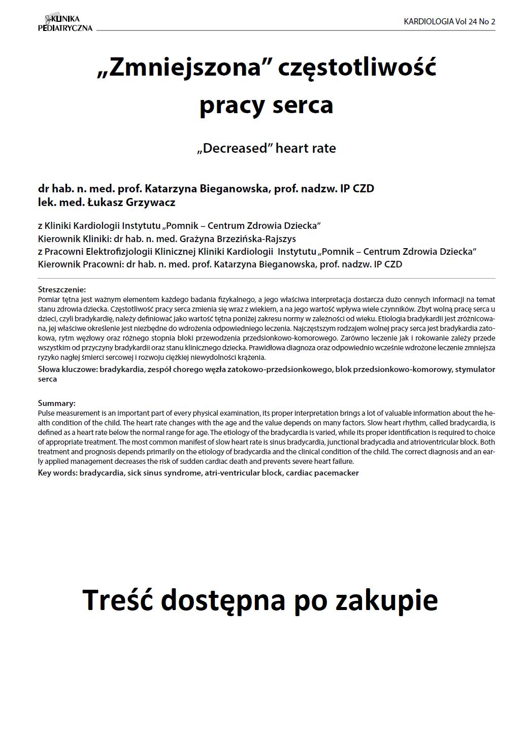 """KP 2 -2016- """"Zmniejszona"""" częstotliwość pracy serca"""