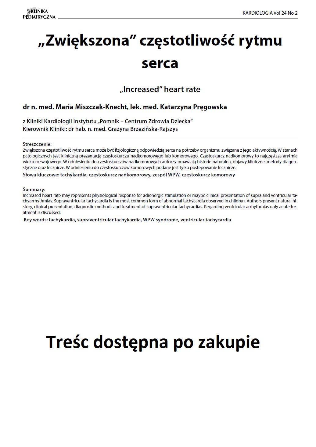 """KP 2 -2016- """"Zwiększona"""" częstotliwość rytmu serca"""