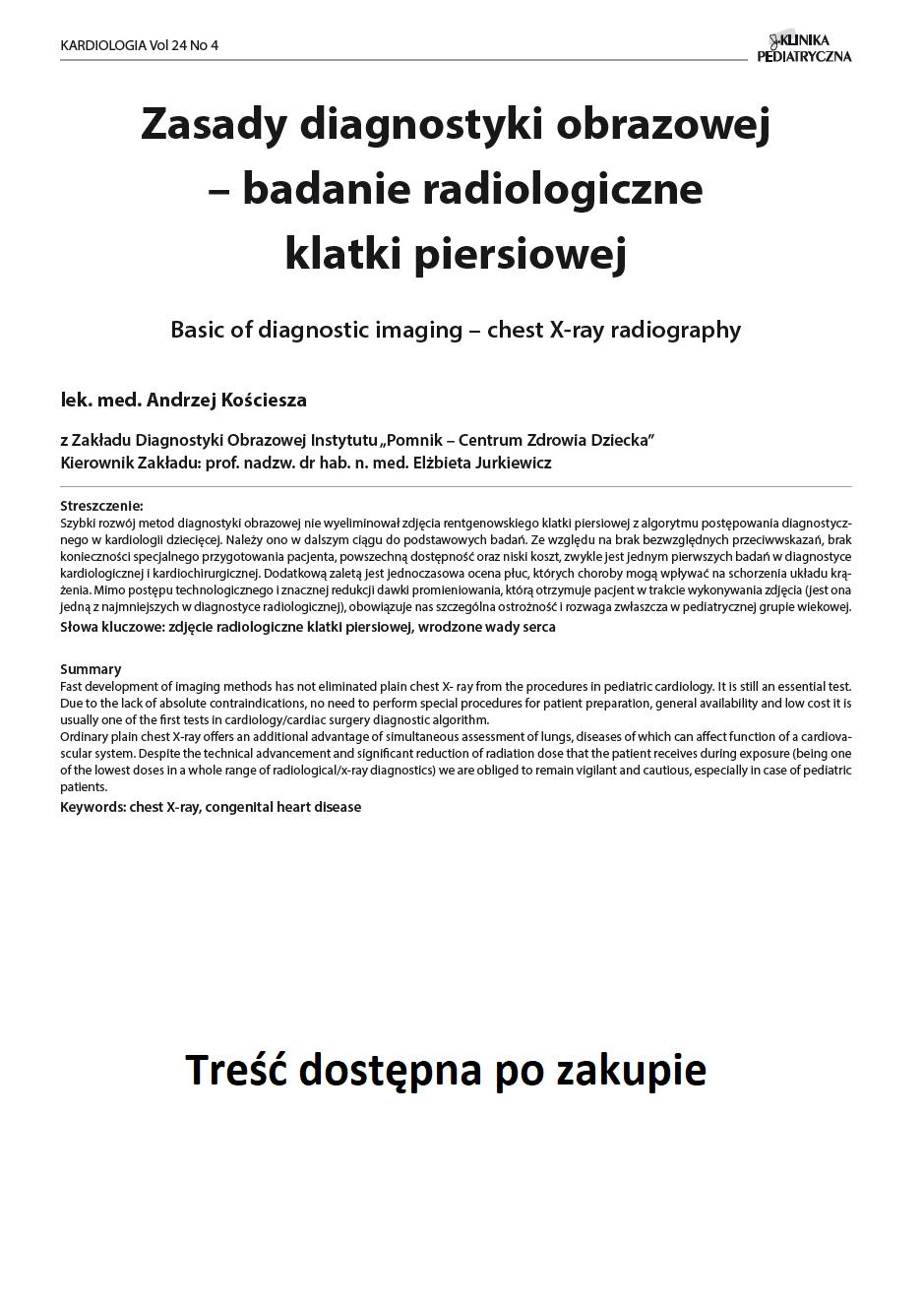 KP 4 -2016- Zasady diagnostyki obrazowej – badanie radiologiczne klatki piersiowej