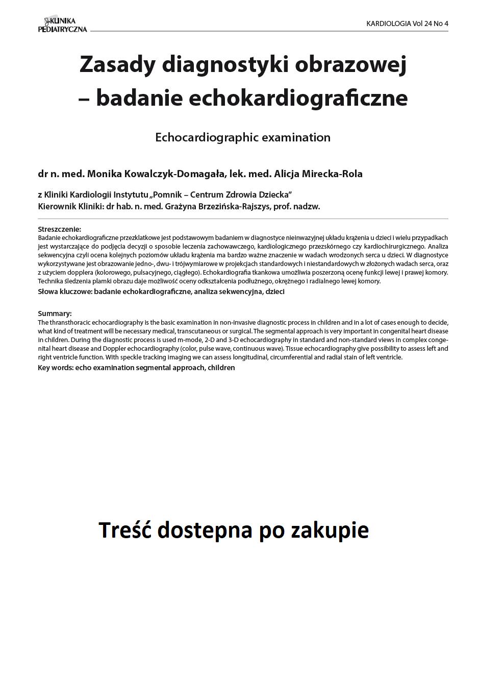 KP 4 -2016- Zasady diagnostyki obrazowej – badanie echokardiograficzne