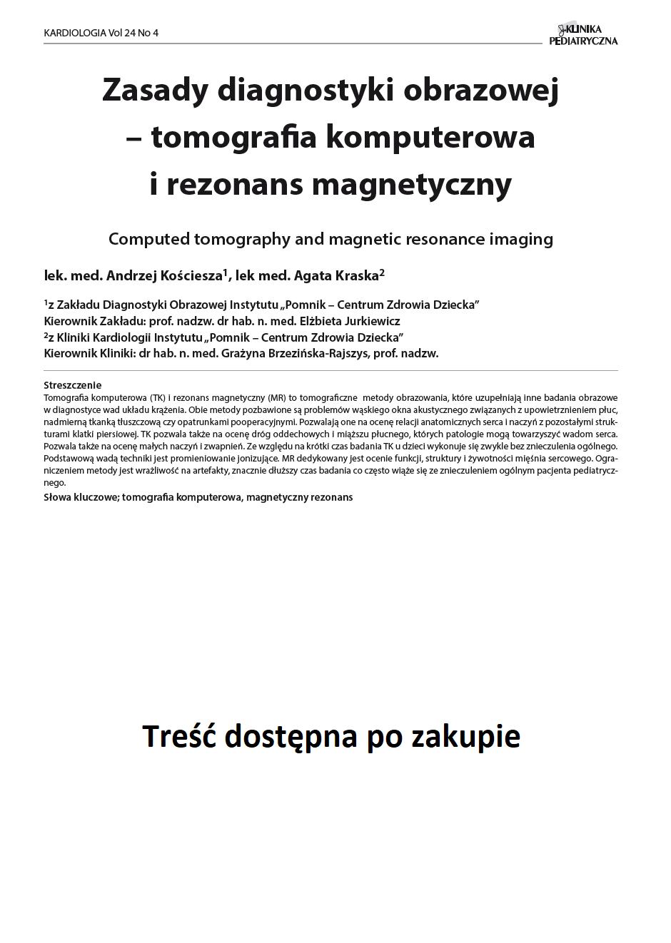 KP 4 -2016- Zasady diagnostyki obrazowej – tomografia komputerowa i rezonans magnetyczny