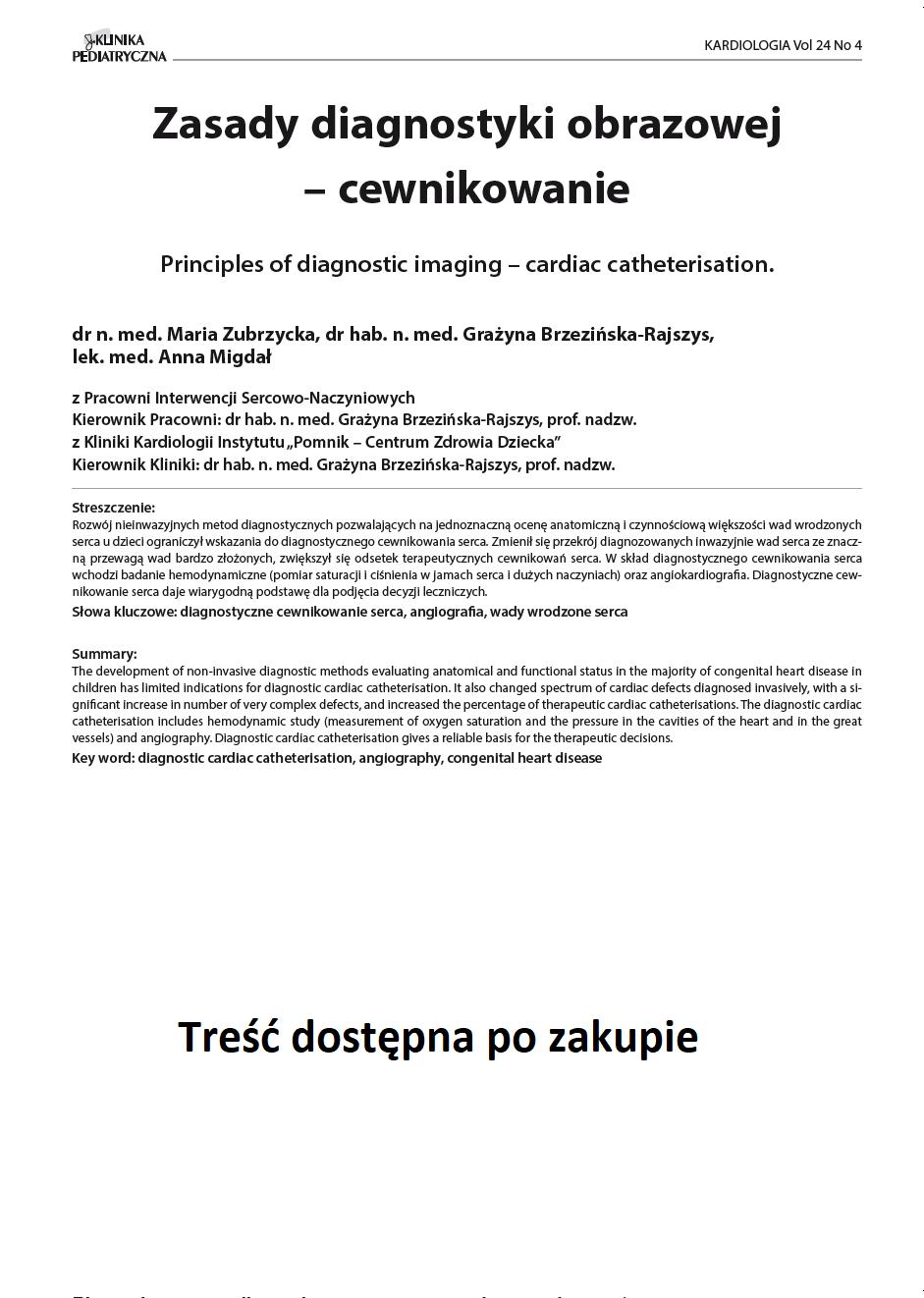 KP 4 -2016- Zasady diagnostyki obrazowej – cewnikowanie