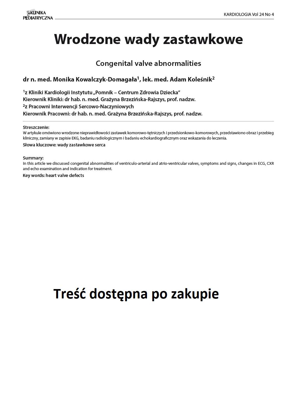 KP 4 -2016- Wrodzone wady zastawkowe