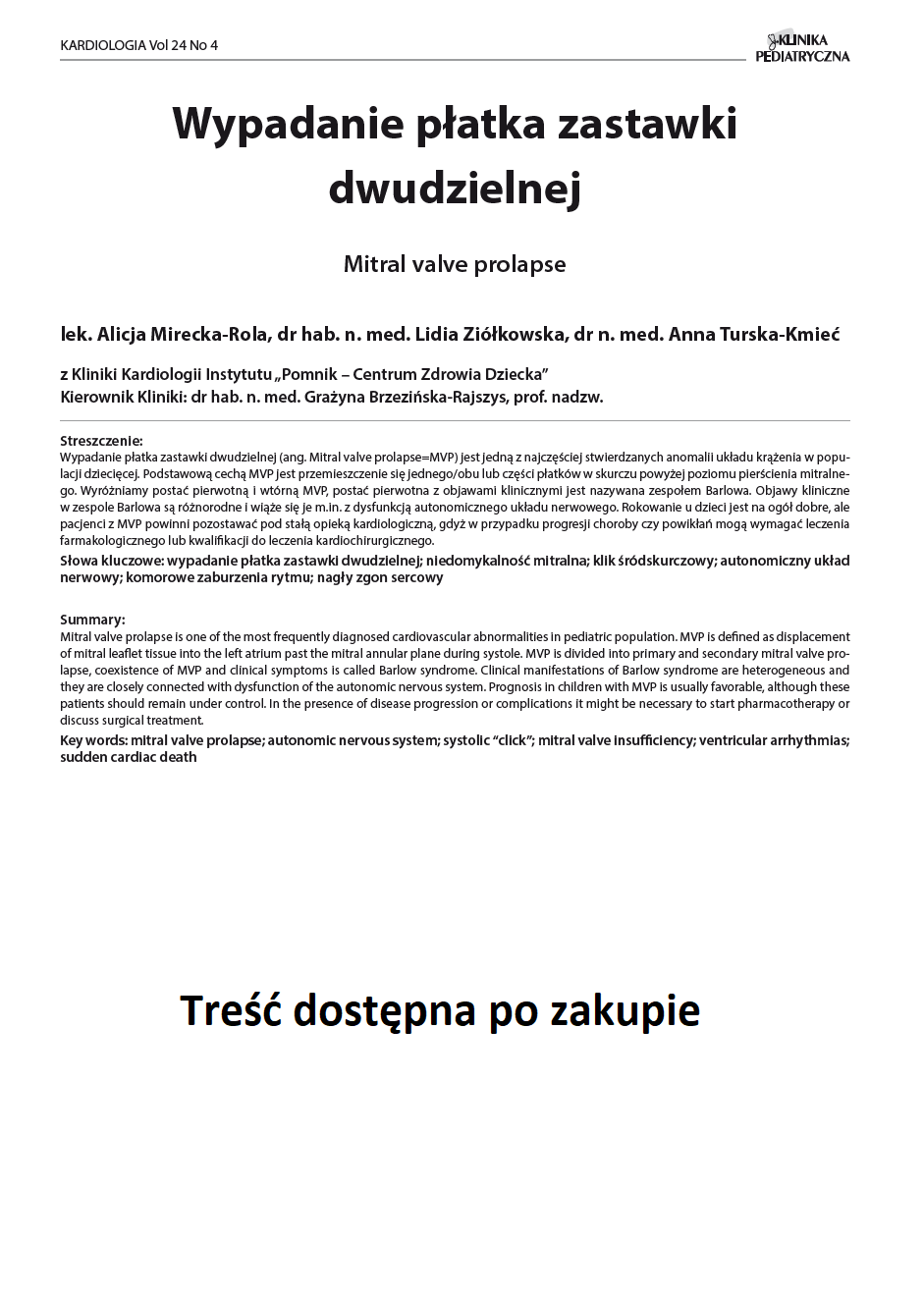 KP 4 -2016- Wypadanie płatka zastawki dwudzielnej