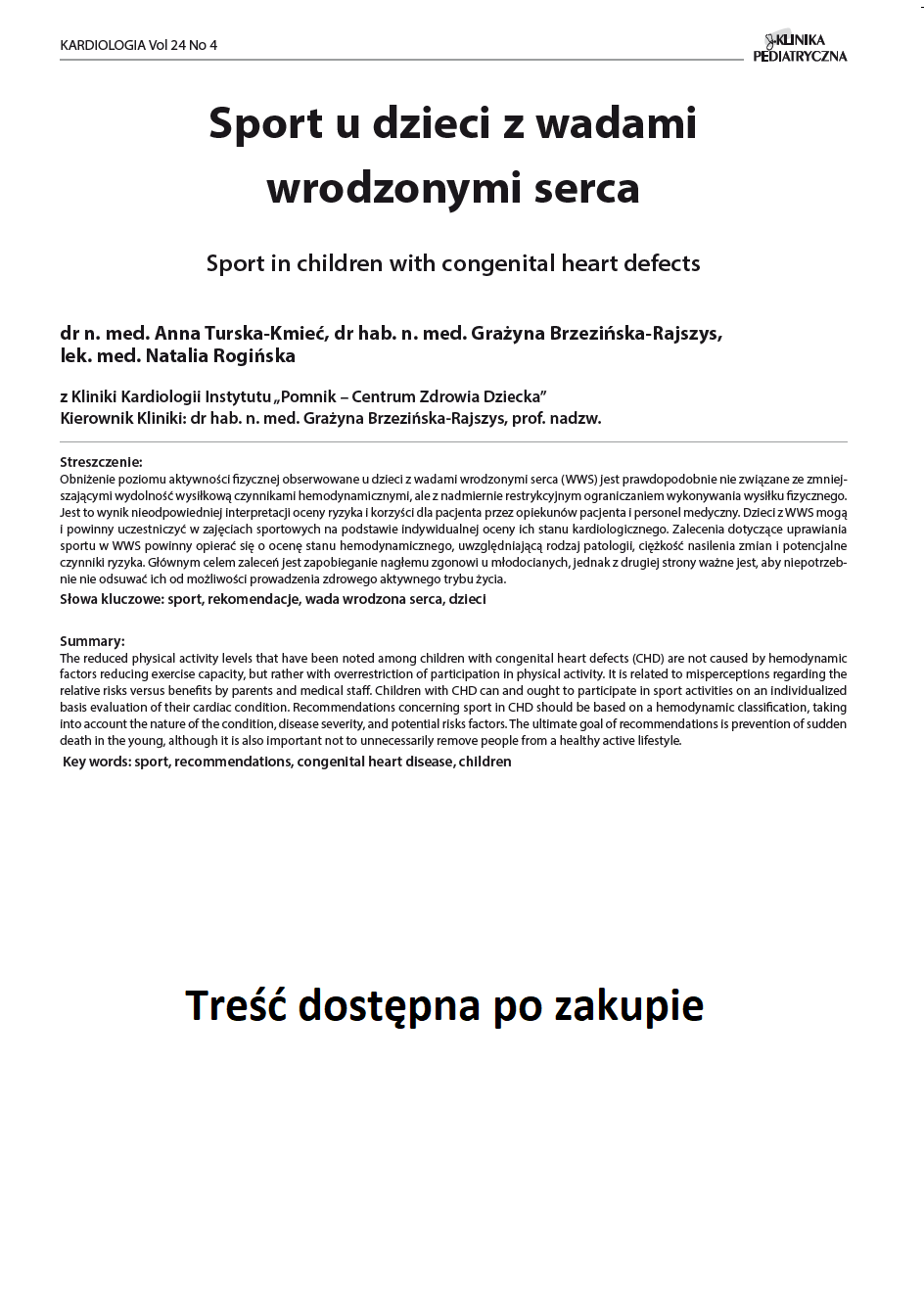 KP 4 -2016- Sport u dzieci z wadami wrodzonymi serca
