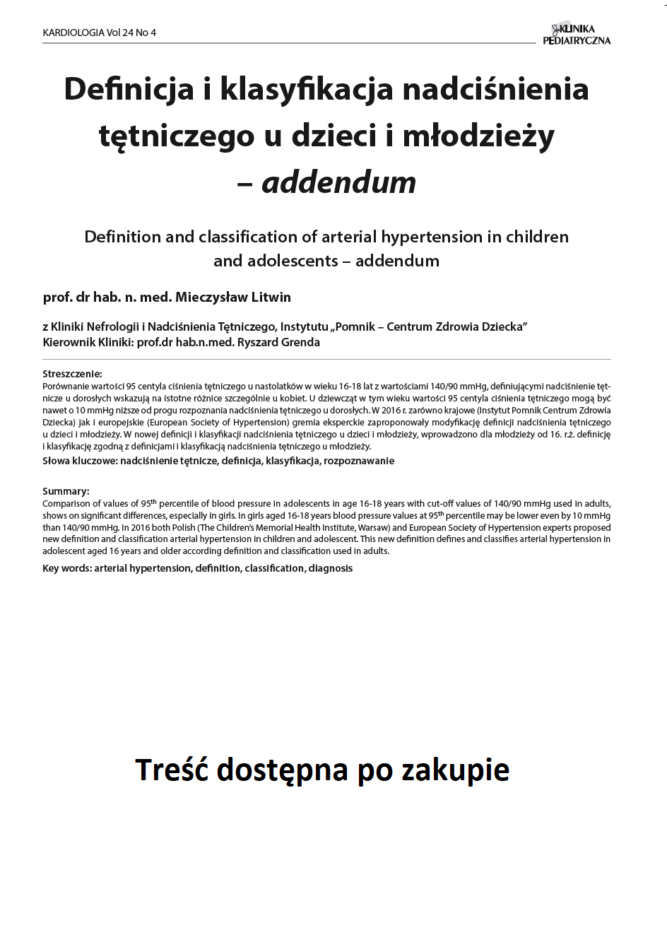 KP 4 -2016- Definicja i klasyfikacja nadciśnienia tętniczego u dzieci i młodzieży – addendum
