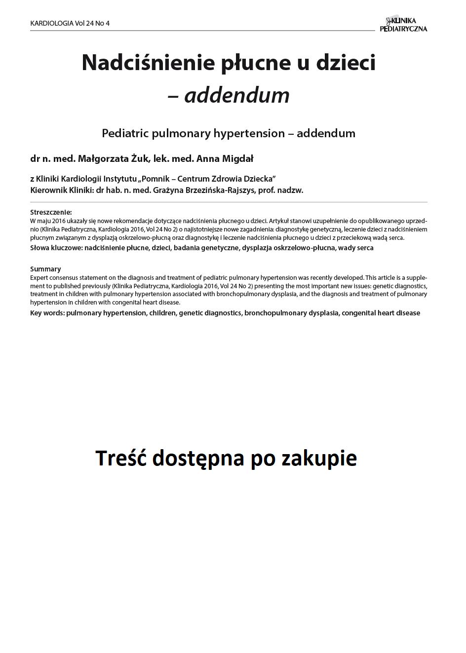 KP 4 -2016- Nadciśnienie płucne u dzieci – addendum