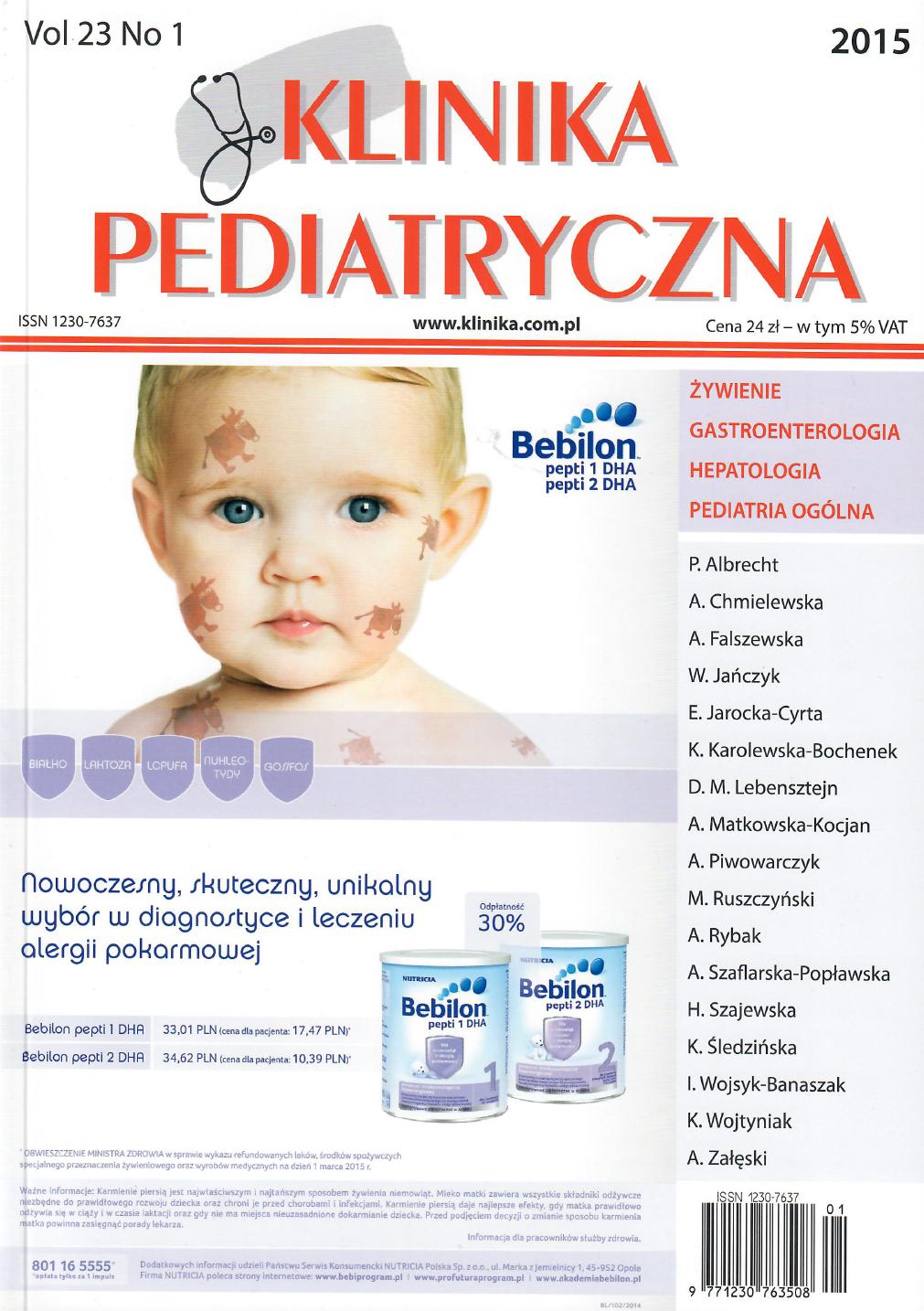 KP 2015/01 - Żywienie, Gastroenterologia, Hepatologia, Pediatria Ogólna