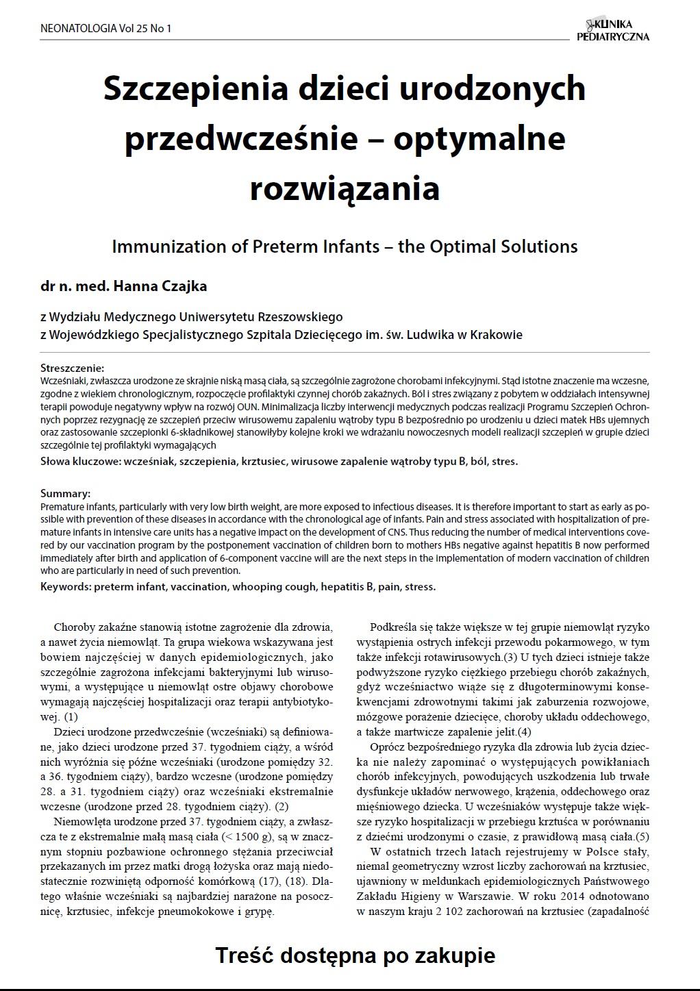 KP 1/2017 Szczepienia dzieci urodzonych przedwcześnie – optymalne rozwiązania